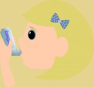 Girl with asthma spray