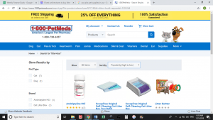 1-800-Pet-Meds website product page for litter boxes