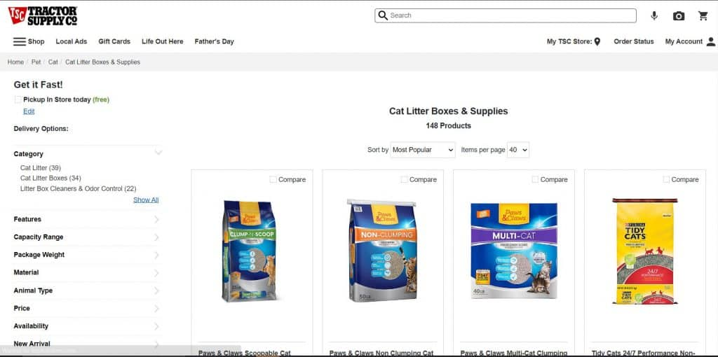 Tractor Supply Company website product page for litter boxes