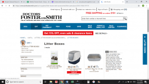 Dr. Foster and Smith website product page for litter boxes