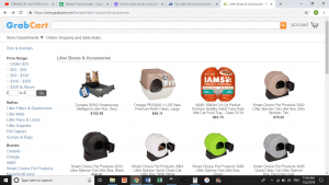 Grab Cart website product page for litter boxes