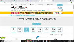 Pet Care RX website product page for litter boxes
