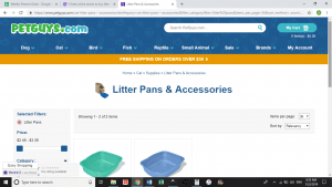 Pet Guys website product page for litter boxes