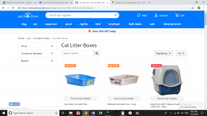 Pet Mountain website product page for litter boxes