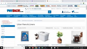 Pet Shop USA website product page for litter boxes