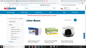 Petsmart website product page for litter boxes