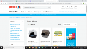 Petco website product page for litter boxes