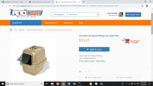 Peto Cart website product page for litter boxes