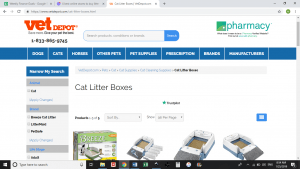 Vet Depot website product page for litter boxes