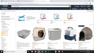 Amazon website product page for litter boxes