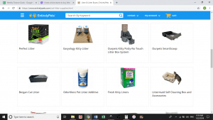 Entirely Pets website product page for litter boxes