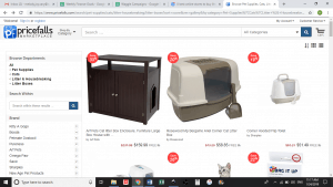 Pricefalls Marketplace website product page for litter boxes