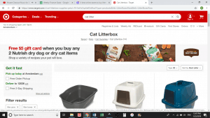 Target website product page for litter boxes