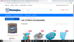 White Dog Bone website product page for litter boxes